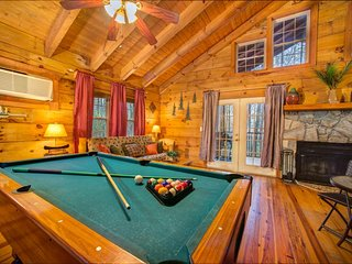 Dog-friendly log cabin w/ hot tub, in-room Jacuzzi, & bedside indoor waterfall