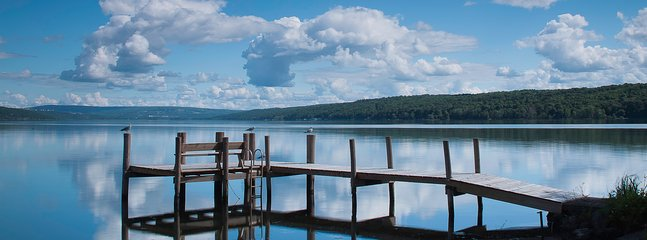 View of the front dock and Cayuga Lake. ©2015