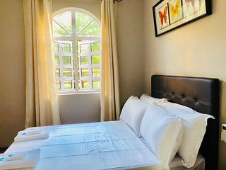 Beachfront double bed with shared bathroom