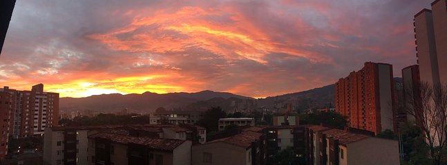 Medellin sunset seen from the balcony of the apartment