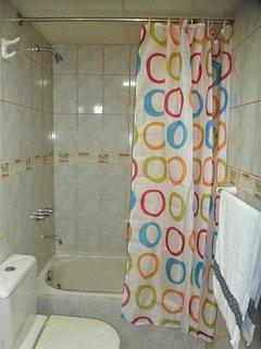 Bathroom and bathtub