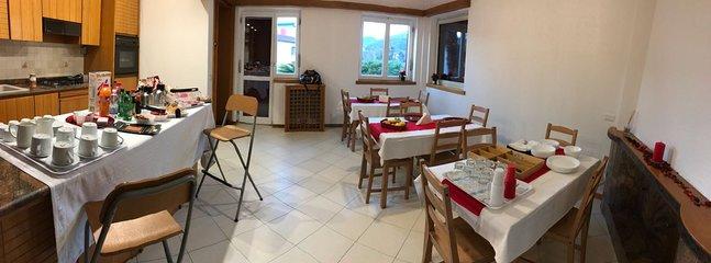 breakfast room and delicious breakfast buffet