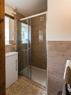 Downstairs shower room with high rise toilet and heated towel rail, complete with underfloor heating