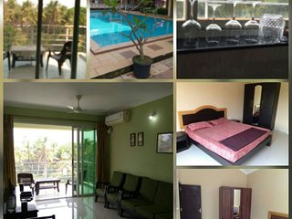 Zuperb 2 bedroom apt with a pool ,sleeps 8 and 10 mins walk to candolim beach