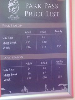 PARK PASS PRICE LIST