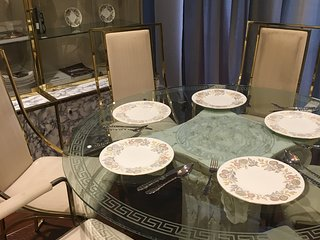 The Versace dining table will evoke fine dining memories for years to come.