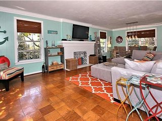 Stylish home w/ heated pool, deck & terrace - only steps to the beach & trolley!