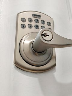 The automated lock on the front door.