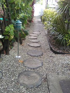 Path at the back of the villa that leads to a secure key pad entry door to the road side and beach