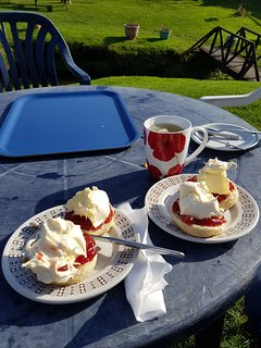 Best Cornish Cream Tea at Margaret's Rustic Tea Garden, Northcott Mouth Beach