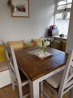 Kitchen dining extending table also small breakfast bar in kitchen