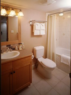 The lovely bathroom features wooden touches along with a shower-tub combination.