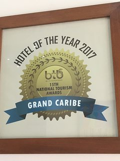 One of the many awards given to Grand Caribe for consistently outstanding service.