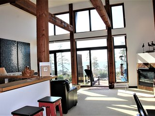 Living area with large Fir beams