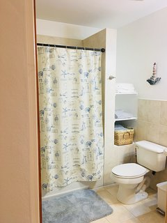 Large ensuite with bath and shower.