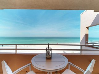 Gulf front getaway with sweeping views, shared pool, and easy beach access