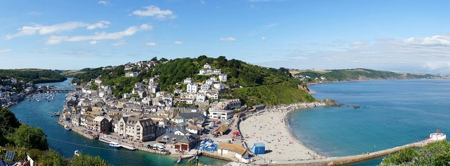 View of the beach, East Looe and Looe River.