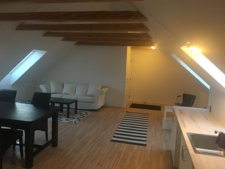 New and beautifull apartment with a view of the land surrounding the farm