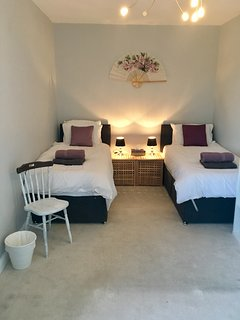 Very spacious twin room.  These beds are quality hotel zip and link beds making a superking size too