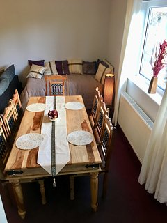 Dining table seats eight guests