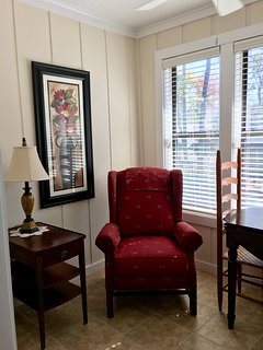 Recliner for reading in sun room.