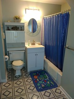Bathroom with large dressing area