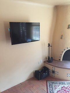 TV on north wall of living room