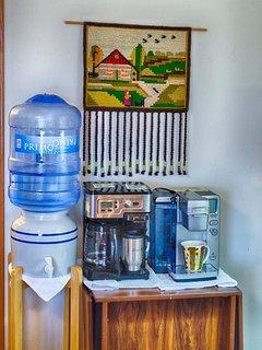 Coffee center! Keurig, espresso, drip, percolator available. (Tea items in closet.)