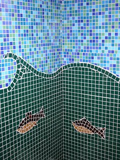 Beautiful tile design in bathroom at Ragged Island Retreat