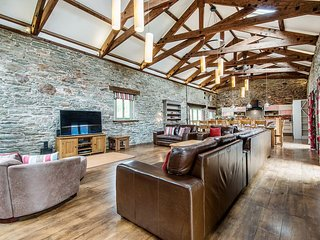 MILL BARN, huge converted barn in quiet hamlet with wood burning stove, orchard