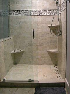 Extra large shower, rain shower head & hand held shower head; infinity drain