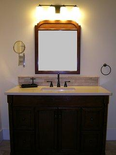 WAUPOOS BATHROOM: vanity; heated floor; hair dryer; make-up mirror