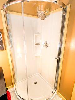 Corner shower.