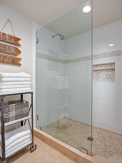 The downstairs bathroom includes a shower