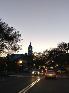Historic downtown Fernandina Beach - Centre St just before sunset