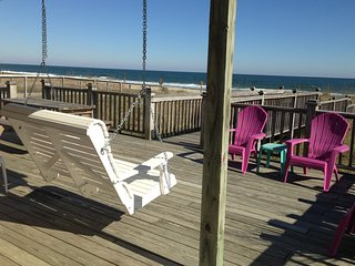 Oceanfront 3BR House-Amazing Views, On the Beach, Huge Deck, Swing, WiFi, Grill