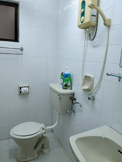 Common bathroom with basic toiletries