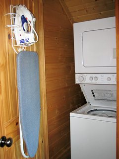 In case you need to do laundry, your cabin has a washer, dryer, & ironing board.