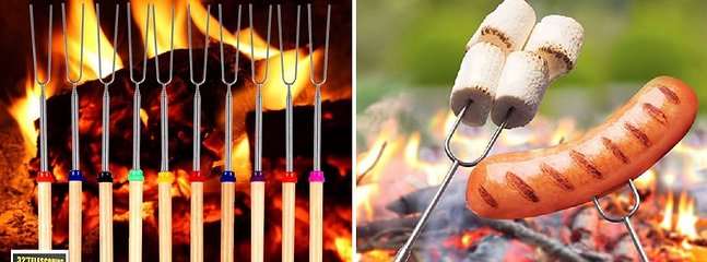 We provide 12 each; 36 inch telescoping roasting sticks and the wood for your campfire fun!