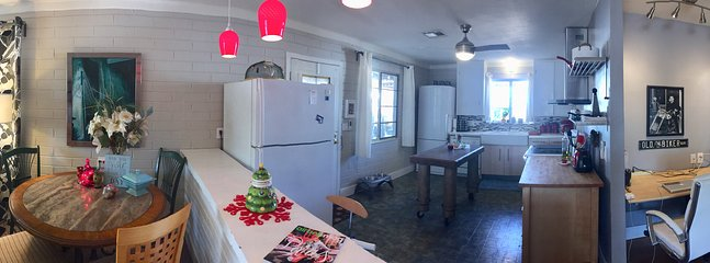 Wide angle view of open concept home
