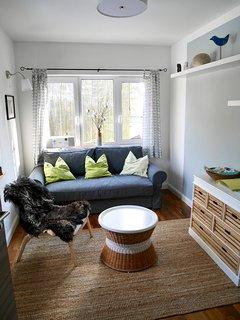 Das gemütliche Wohnzimmer mit Apple TV, Stereo und  ausziehbarer Couch, B 160 cm