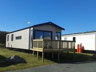 New Luxury Swift Antibes caravan with front deck on Perran Sands Perranporth