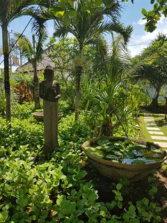 Lush tropical gardens separate the bedrooms.