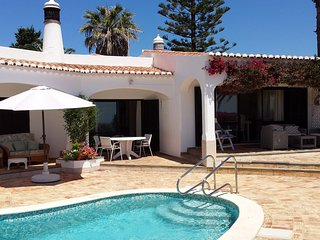 4 bedroom house in secluded position with sea views garden and heated pool.