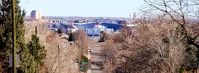 For our football fans, if you look north down the street you can see Broncos stadium! (Winter photo)