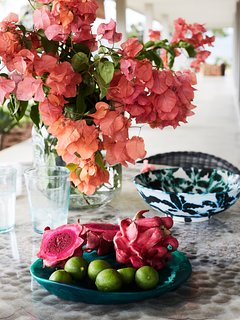 Bougainvillea vines offer shade and vibrance to the gardens of Selalu and make a lovely centrepiece.