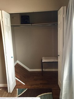 Master bedroom has large closet w/luggage rack and extra sheets/blankets.
