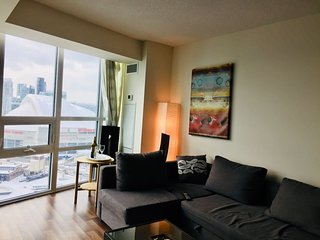 Condo overlooking CN tower, Rogers Centre, Islands