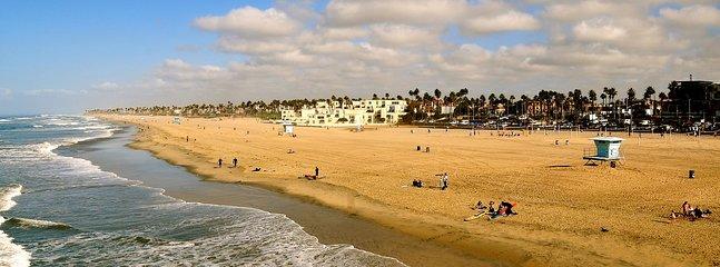 Soak up the sun at beautiful Huntington Beach, where a laid-back atmosphere permeates the golden sand beaches.