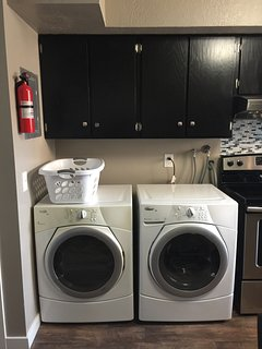 Whirlpool front loading washer and dryer.